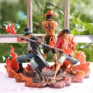 Figurine One Piece, ensemble de statue Portgas D Ace ,Monkey D Luffy, Sabo